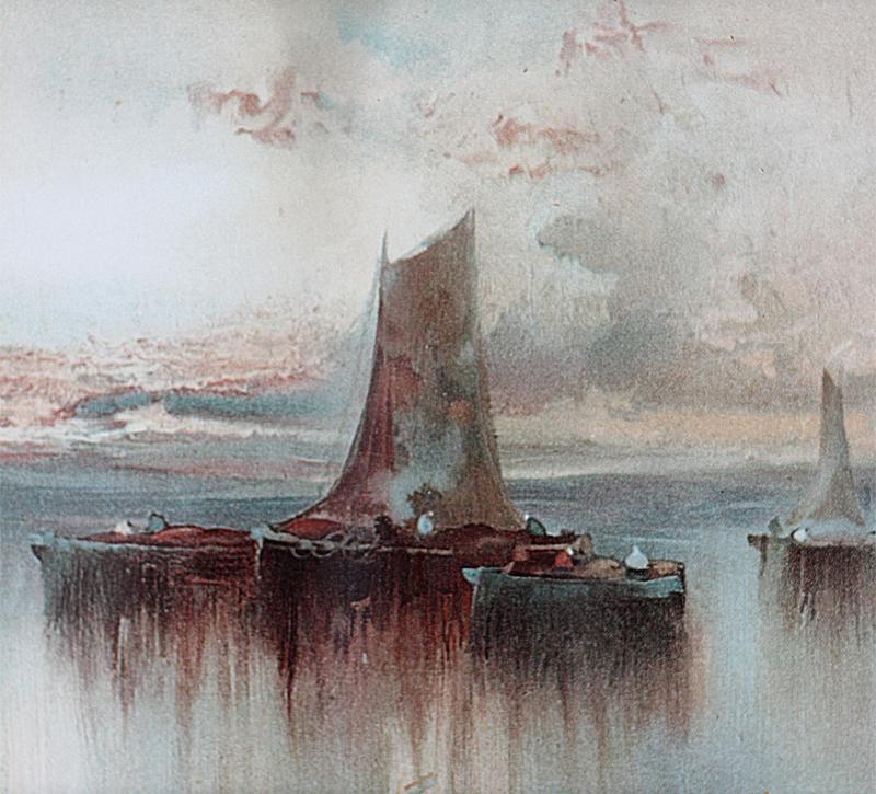 Joachim VAN HIER chromolithographie bateaux de pêche amarrés