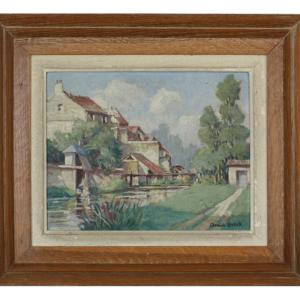 Édouard LEVERD huile Paysage à la rivière
