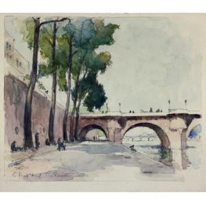 Eugène BEJOT aquarelle Le Pont Neuf