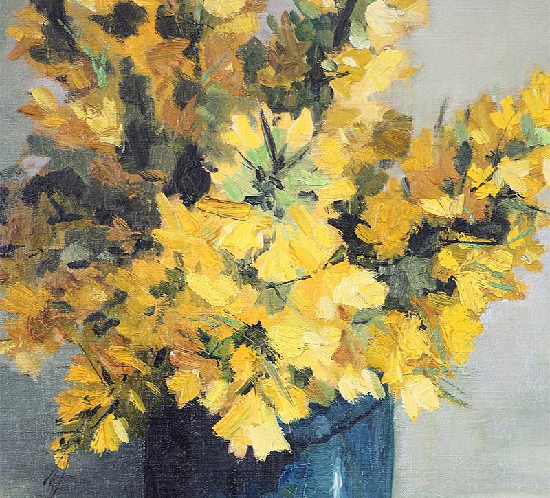 Micheline MEVEL-ROUSSEL bouquet, huile sur toile encadrée